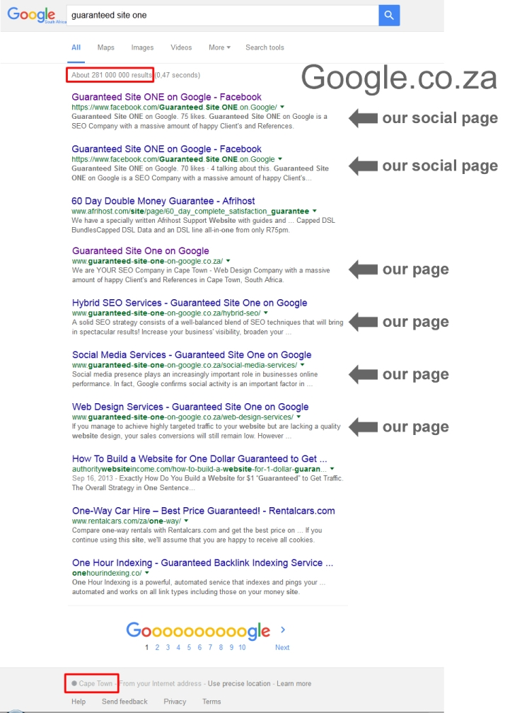 ranking guaranteed site one on google south africa